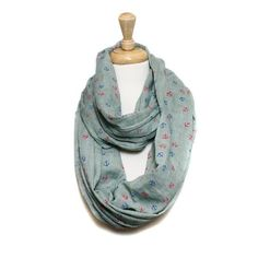 Mint and Multi Anchor Infinity Scarf