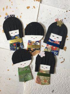 Washi dolls, set of 5 / Japanese kimono paper doll, ningyou / Handmade origami embellishment for scrapbooking, card, gift