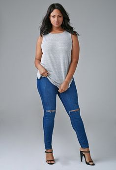 Plus Size Distressed Skinny Jeans