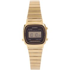Casio Digital WR Time Stop Watch Gold Steel Band (€46) ❤ liked on Polyvore featuring jewelry, watches, accessories, gold, women, gold tone watches, digital wristwatch, steel watches, digital watches and yellow gold watches