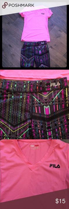 Girls running outfit Girls running outfit!  Fila sport capris and top. Perfect shape:). Bundle to save! Size medium 10/12. Matching Sets