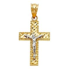 25mm x 20mm 14K Two-tone Gold Mom Charm Pendant