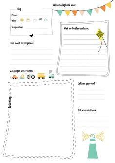 Dit vakantiedagboek kun je uitprinten en dagelijks door je kinderen laten invullen. Als je het na de vakantie bij elkaar bindt, heb je een leuk dagboek.: