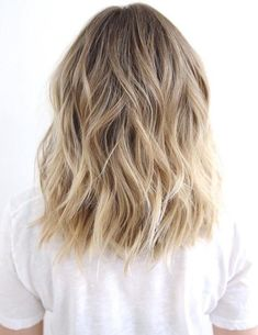 Medium To Long Wavy Brown Blonde Hair - beachy waves, honey blonde balayage, this style could last a couple days, just spritz some dry shampoo on roots and mid-shaft, finish with a little spray shine. #mediumhairstyles
