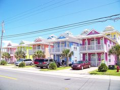 I love the colors of beach houses.   They make me happy! Why don't we paint houses in these colors in other places?