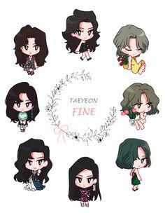Taeyeon fine by Unknown on FanBook Snsd, Fashion Design Template, Kawaii, Anime Chibi, Girl Cartoon, Kpop Groups, Girls Generation, Besties, Stickers