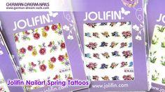 Jolifin Nailart Spring Tattoos by GDN.de  #jolifin #nailart #nagelsticker #nails http://www.german-dream-nails.com  Lasse dich von den schicken Nailart Motiven mit hübschen Verzierungen inspirieren. Die Jolifin Nailart Spring Tattoos eignen sich prima für dein French- oder Fullcover Design. Die Tattoos sind wasserlöslich und lassen sich somit einfach in eine dünne Kontaktschicht einarbeiten.