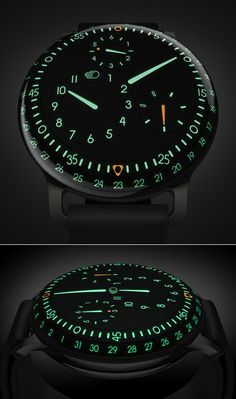 Ressence Type 3 wristwatch, featuring Japanese Super-LumiNova photoluminescent pigment, rotating control dials on the rear (wrist-facing) panel, and a combination of sapphire crystal and naphtha-type liquid to make the face appear three-dimensional. Dream Watches, Fine Watches, Men's Watches, Luxury Watches, Cool Watches, Fashion Watches, Watches For Men, Amazing Watches, Beautiful Watches