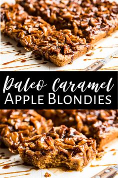 These Paleo Caramel Apple Blondies are a healthy treat because this recipe is made without any refined sugar at all! They're easy to make and naturally gluten free as well. The caramel apple combination is always a hit with kids and adults alike making this a family favorite! #appledessert #glutenfreedessert #paleodessert #glutenfree #paleo #appleblondies