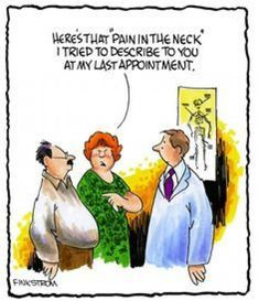 Just a little bit of chiropractic humor for National Humor Month! If you've been experiencing neck pain from a previous auto accident or poor posture habits chiropractic care may be right for you. Call us today: ( therapy Chiropractic Quotes, Chiropractic Office, Family Chiropractic, Chiropractic Wellness, Chiropractic Assistant, Chiropractic Center, Physical Therapy Humor, Cartoon Jokes, Funny Cartoons