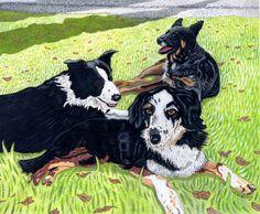 Custom Portrait: Annie, Gracie & Lucy. Pet portraits & pet paintings. © Todd Belcher/Jimmydog Design Group