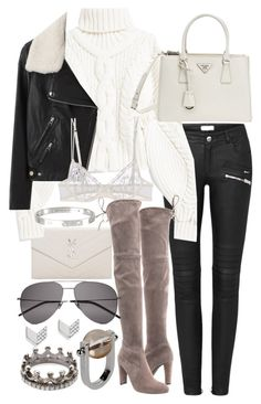 """Untitled #20765"" by florencia95 ❤ liked on Polyvore featuring Yves Saint Laurent, Prada, Acne Studios, La Perla, Stuart Weitzman, Cartier, Jil Sander, Loree Rodkin and FOSSIL"