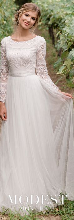 dc1b965c04 Modest Wedding Dresses TR11976 - This boho chic allover lace and tulle  A-line gown