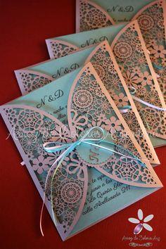 Participación de casamiento boda calado láser / Wedding invitation - laser cut