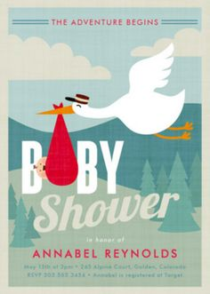 Shower the parents to be before the stork arrives with their bundle of joy. Discover the perfect retro themed baby shower invitation design from Minted.