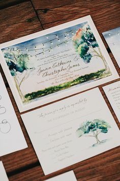 illustrated wedding invitations - photo by Lev Kuperman http://ruffledblog.com/elegant-country-wedding-at-barley-sheaf-farm #weddinginvitations #stationery