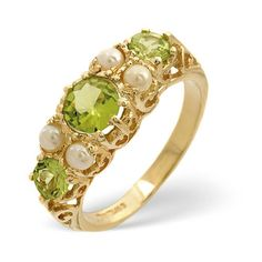 Peridot and Pearl Ring In 9 Carat Yellow Gold