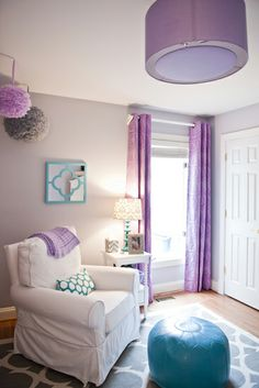 Purple and grey nursery with a hint of teal.