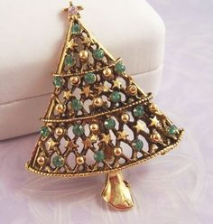 Vintage Christmas Tree Brooch signed by designer JJ - Gold Tone with Green Rhinestones