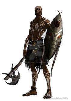 Ideas For Tribal Warrior Concept Art Deviantart Fantasy Character Design, Character Design Inspiration, Character Concept, Character Art, Black Characters, Dnd Characters, Fantasy Characters, Warrior Concept Art, Fantasy Warrior