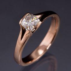 Cushion Cut Moissanite Fold Semi-Bezel Rose Gold Solitaire Engagement Ring