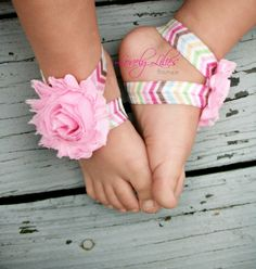 20OFF .. Baby Barefoot Sandals .. Pink by LovelyLiliesBoutique, $6.50