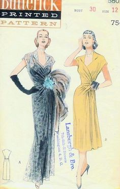 50s Butterick 5801 Vintage Sewing Pattern Draped Grecian Full Length Evening Gown Cocktail Party Dress Fabulous Original Fifties Pattern on Etsy, $95.00