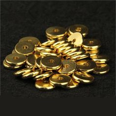30pcs Antique Gold Tone Small Spacer Washer Flat Round Bead Bali Bohème M....
