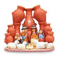 Ceramic nativity scene, 'Peru Country Christmas' by NOVICA