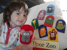 I made these puppets for Katie to play with and she adores them! Children's Toys, Kids Toys, Dear Zoo Activities, Core Learning, Story Sack, Book Bags, Preschool Books, Sacks, Good Job