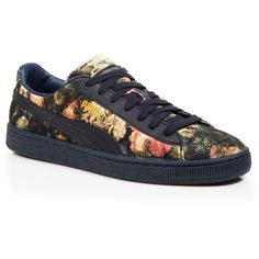 Puma Lace Up Sneakers ($125) ❤ liked on Polyvore featuring shoes, sneakers, total eclipse, puma shoes, puma footwear, floral shoes, puma trainers and floral printed shoes