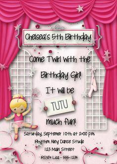 Ballerina Birthday Party Invitation Girl Pink by DecidedlyDigital, $15.00