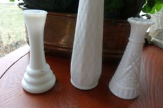 milk glass vase set by WhiteBarnHome on Etsy, $18.00