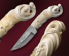 "Blade: Damascus steel by Anders Fallas. Handle:  Walrus toth carving, mother-of-pearl incrustation. Guard: Silver casting. 19 cm long. Photo by David Darom. Knife in book of David Darom & Dennis Greenbaum ""The Art of Modern Custom Knifemaking""."