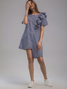 Gingham Frill Trim Tie Back Asymmetrical Hem Dress