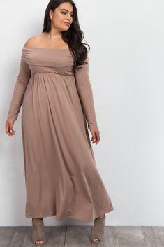 Mocha Foldover Off Shoulder Plus Maxi Dress