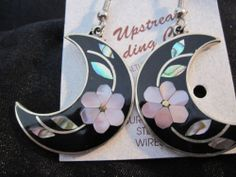 Silver Plated Crescent Shaped Abalone Earrings with Lavender Flower