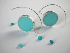 Sterling Silver Earrings / Resin Earrings by IvanaartJewellery