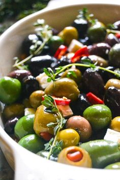 A simple and elegant appetizer: Roasted and marinated olives (cut down on olive oil for WW)