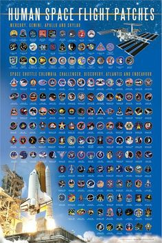 Space Shuttle Badges | Space Flight Patch Poster - now includes all STS Missions