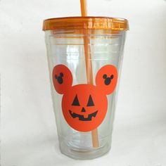 Halloween Mouse Acrylic Straw Cup Vinyl by DeegeeMarieGifts
