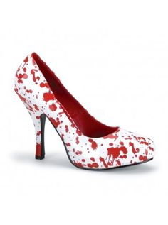 Whether you want to dress as Carrie or a fashionista zombie, these spattered shoes make a great final touch to your look! The Bloody Horror Heels feature a graphic red blood spatter pattern over a white or black base color. Red Patent Leather Pumps, Red Pumps, Patent Shoes, Red Heels, Leather Shoes, Stilettos, High Heel Pumps, Pumps Heels, Stiletto Heels