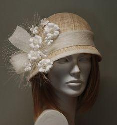 Beige vintage straw cloche hat for women - Gorgeous hat for weddings, Ascot, Kentucky Derby - via Etsy