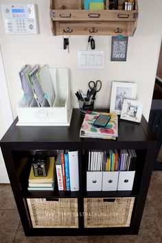 Organize Those Papers That Always Gather On The Kitchen Counter With A Small Command Center Home Ideas Pinterest Family Command Center Kitchen Desks
