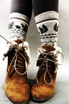 fur edged boots with printed socks