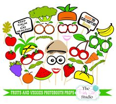 28pc * Fruits and Veggies Photobooth Props |Heath Nut Props | Healthy Lifestyle | Photobooth Props - DIGITAL FILE by ThePartyGirlStudio on Etsy