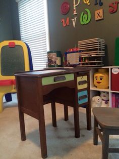 Kids desk made from distressed antique with chalkboard top. Thank you to our customer who shared this picture of Joe ( the desk) in his new home