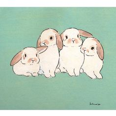 Acrylic Paint by Schinako Moriyama. Schinako Moriyama is an illustrator as bunny art from Fukushima Japan Continue reading and for more Acrylic art? Bunny Drawing, Bunny Art, Cute Bunny, Cute Animal Drawings, Cute Drawings, Pretty Art, Cute Art, Hase Tattoos, Lapin Art