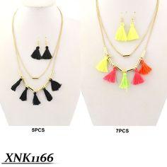 Tassel Fashion Necklace #tassels #necklace #fashion #jewelry #neon #black #necklaceandearrings