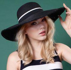 Fashion ladies wide brim sun hat UV ribbon decoration